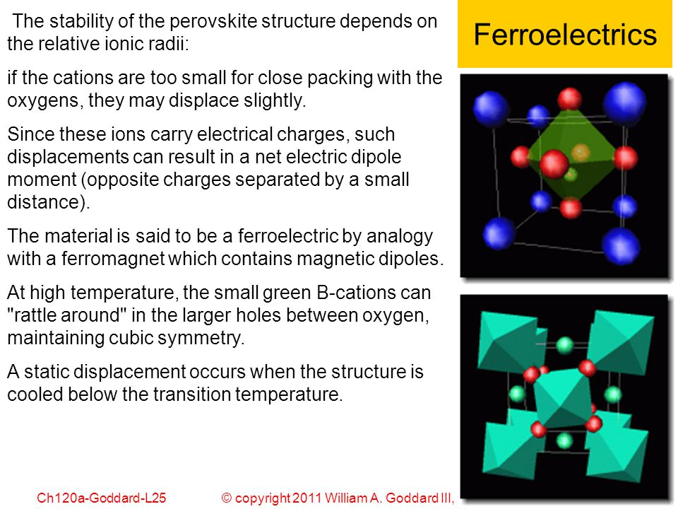 Ferroelectrics The stability of the perovskite structure depends on the relative ionic radii: