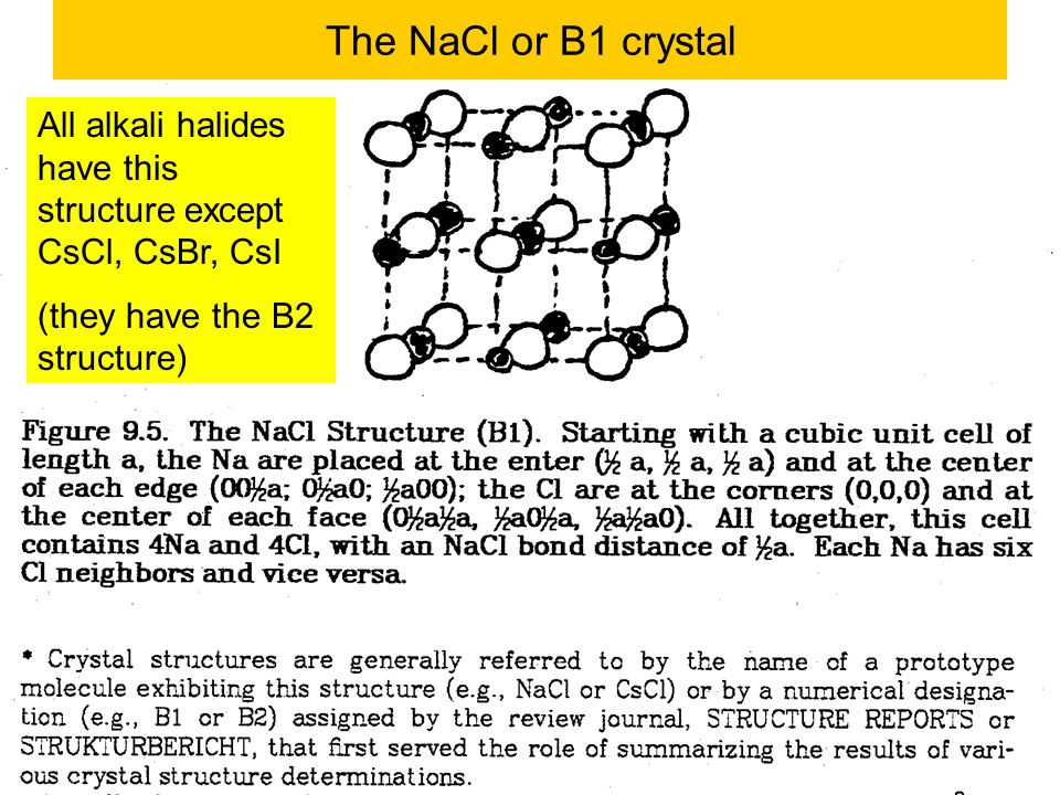 The NaCl or B1 crystal All alkali halides have this structure except CsCl, CsBr, CsI.