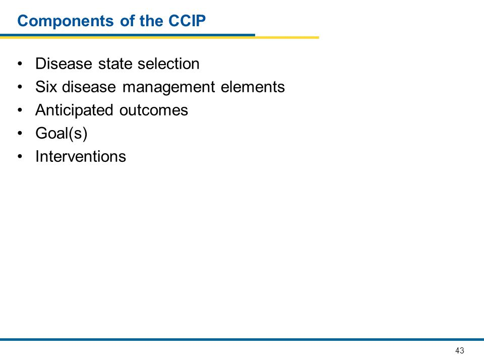 Components of the CCIP Disease state selection. Six disease management elements. Anticipated outcomes.