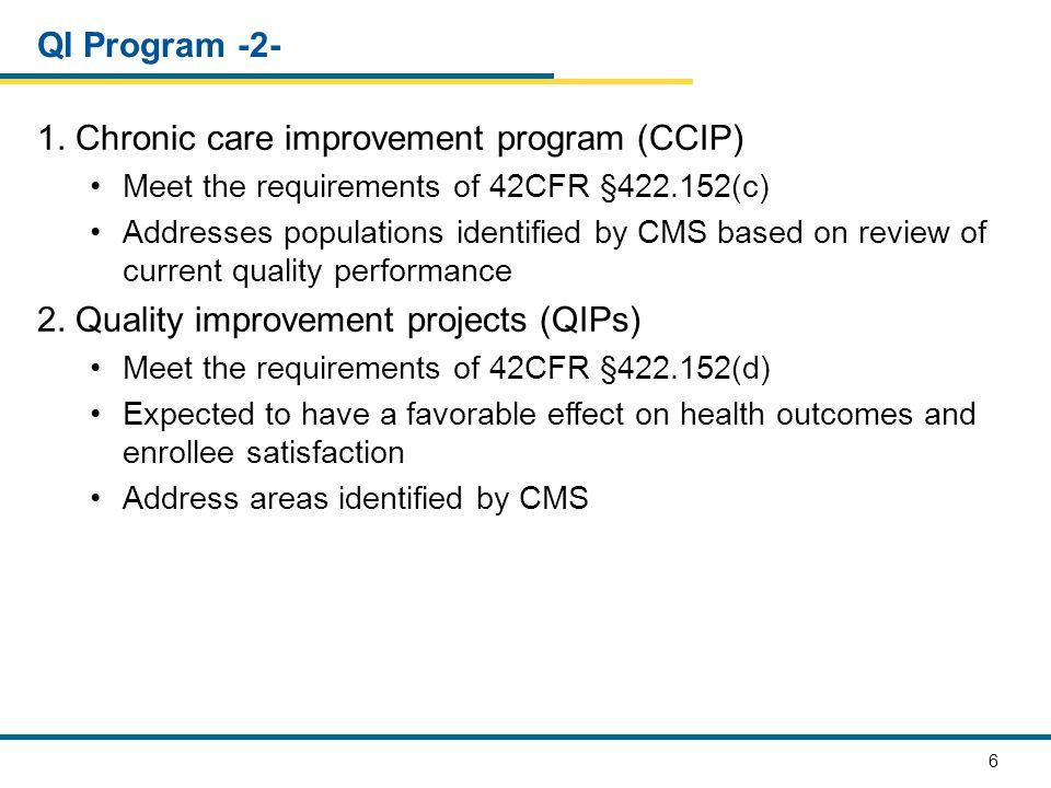 1. Chronic care improvement program (CCIP)