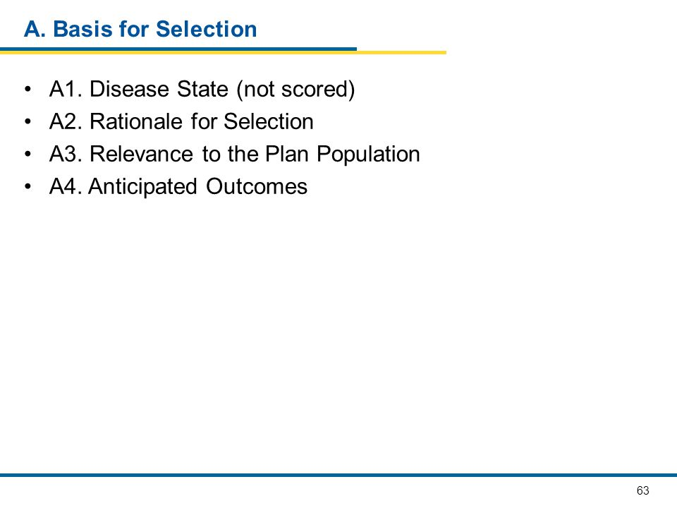 A. Basis for Selection A1. Disease State (not scored) A2. Rationale for Selection. A3. Relevance to the Plan Population.