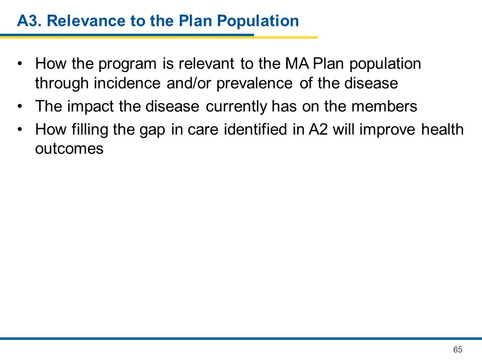 A3. Relevance to the Plan Population