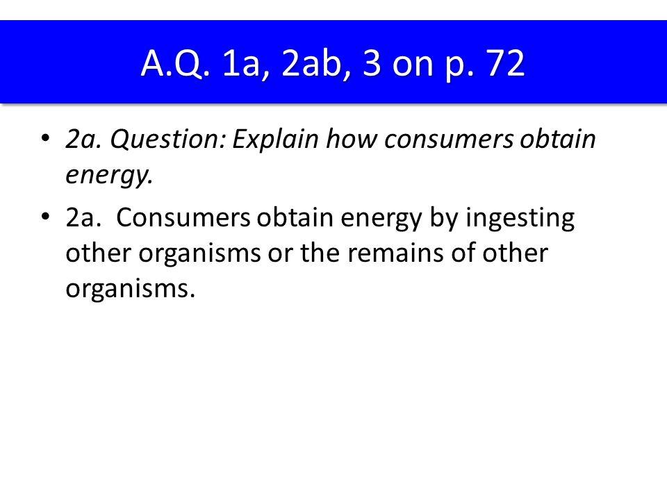 A.Q. 1a, 2ab, 3 on p. 72 2a. Question: Explain how consumers obtain energy.