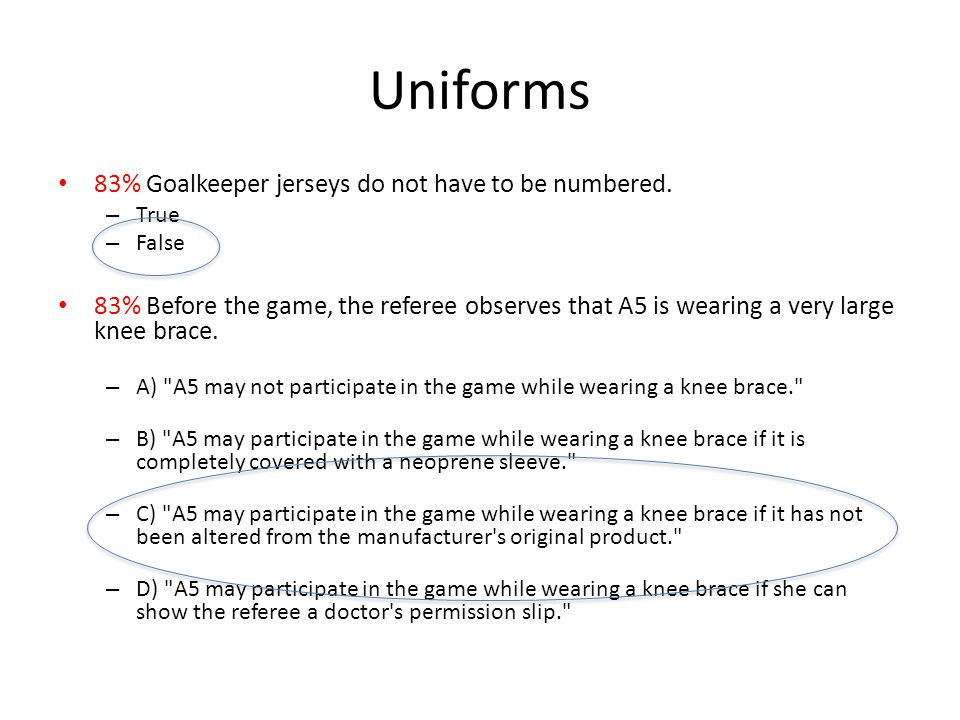 Uniforms 83% Goalkeeper jerseys do not have to be numbered.