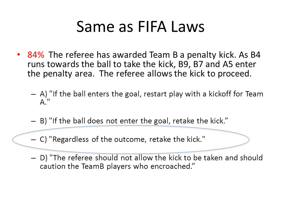Same as FIFA Laws