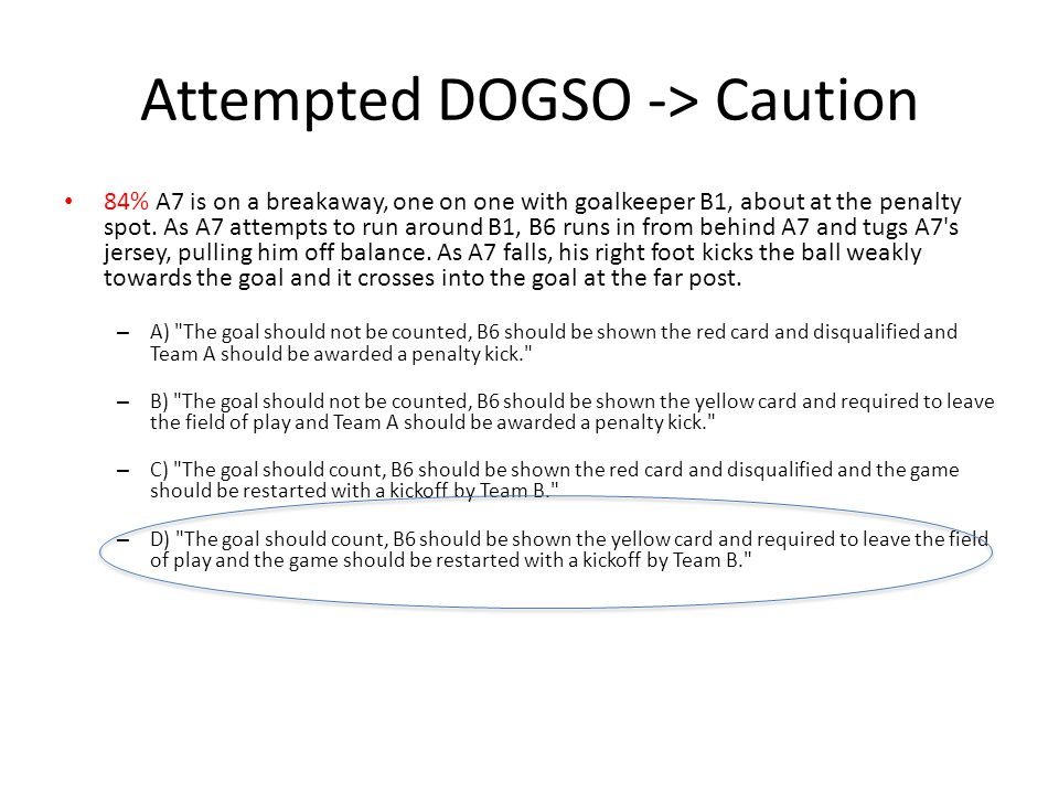 Attempted DOGSO -> Caution