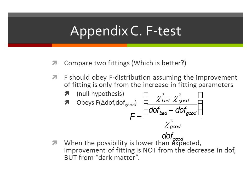 Appendix C. F-test Compare two fittings (Which is better )