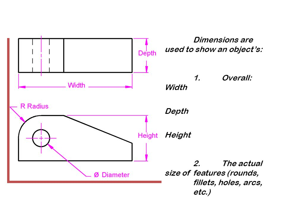 Dimensions are used to show an object's: