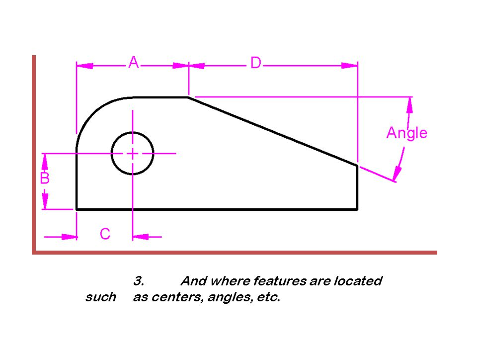 3. And where features are located such as centers, angles, etc.