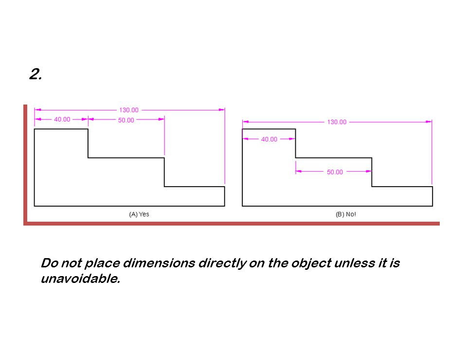 2. Do not place dimensions directly on the object unless it is unavoidable.