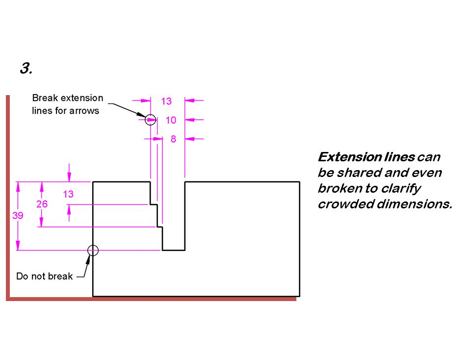 3. Extension lines can be shared and even broken to clarify crowded dimensions.