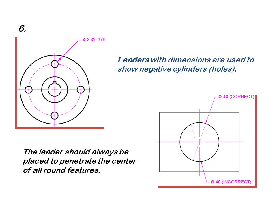 6. Leaders with dimensions are used to show negative cylinders (holes).