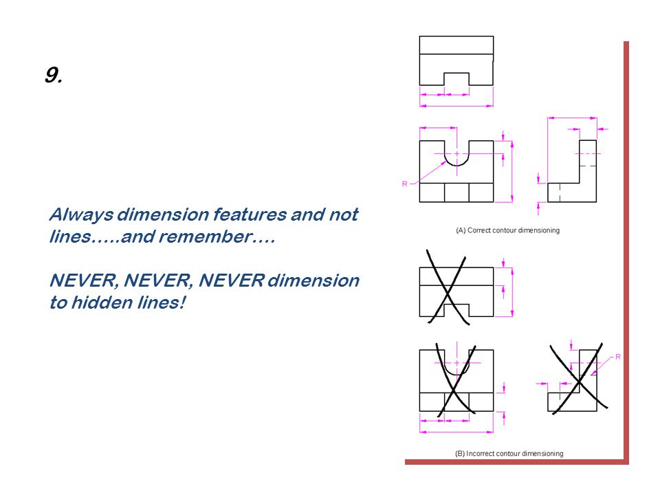 9. Always dimension features and not lines…..and remember….