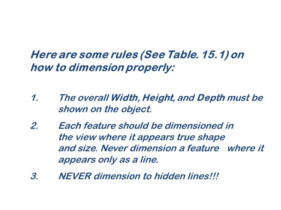 Here are some rules (See Table. 15.1) on how to dimension properly: