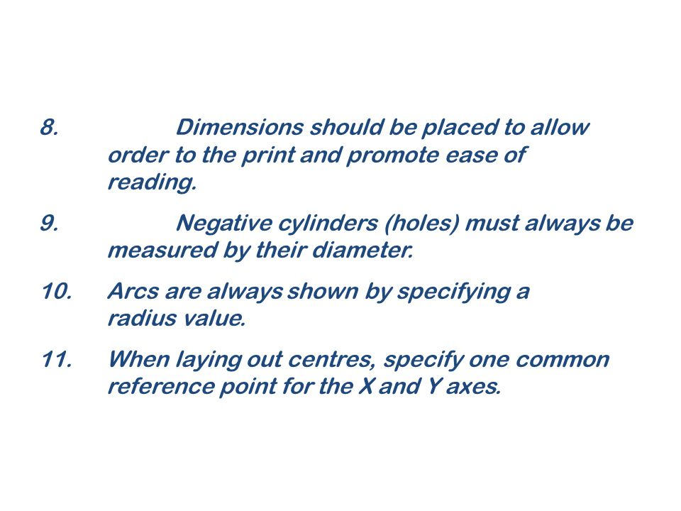 8. Dimensions should be placed to allow
