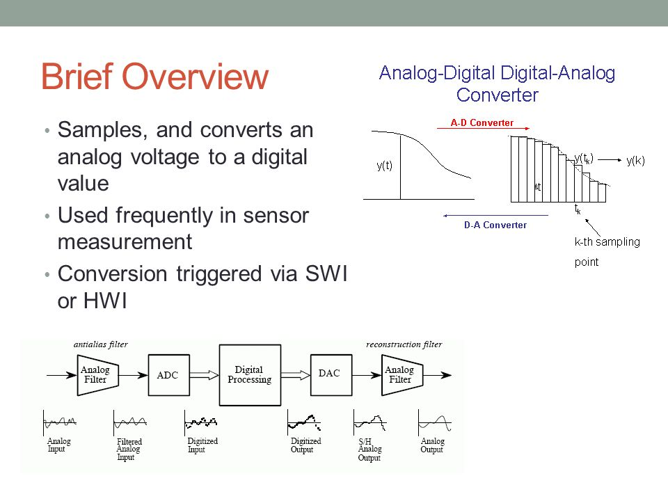 Brief Overview Samples, and converts an analog voltage to a digital value. Used frequently in sensor measurement.