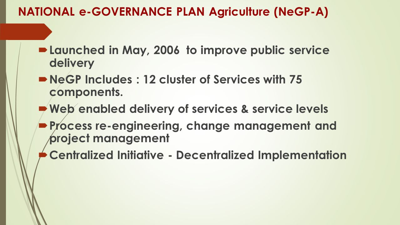 NATIONAL e-GOVERNANCE PLAN Agriculture (NeGP-A)