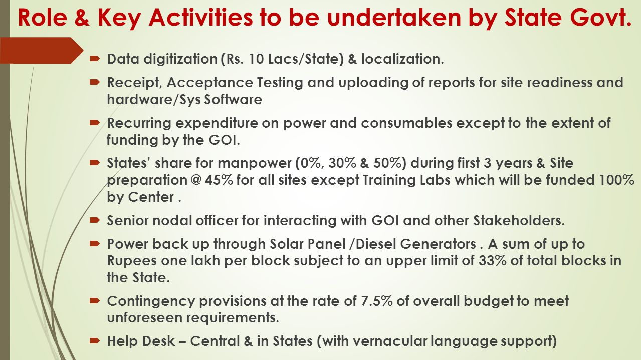 Role & Key Activities to be undertaken by State Govt.