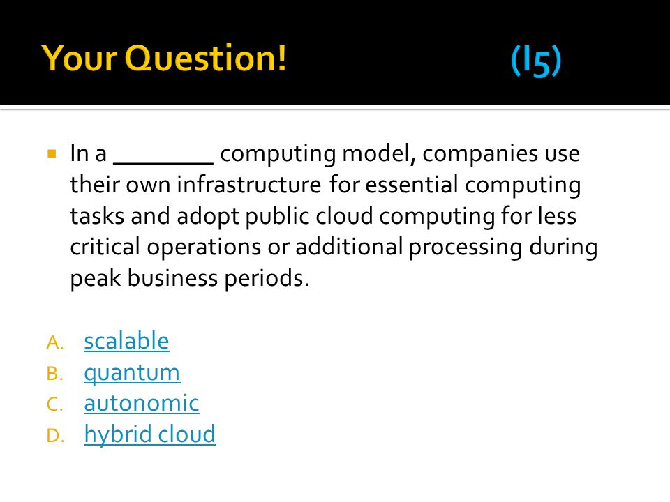 Your Question! (I5)