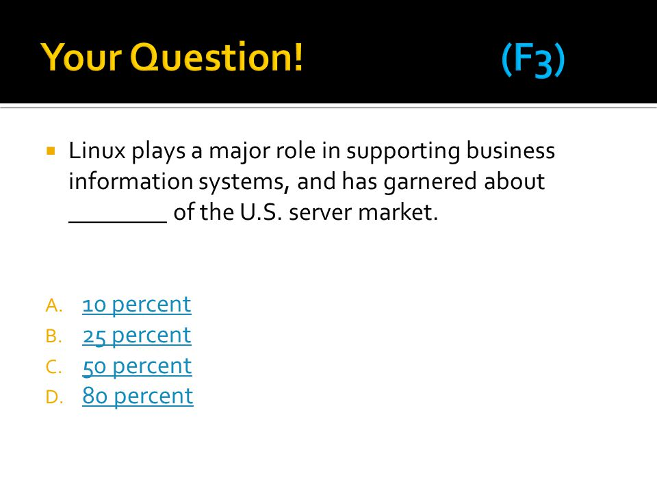 Your Question! (F3) Linux plays a major role in supporting business information systems, and has garnered about ________ of the U.S. server market.