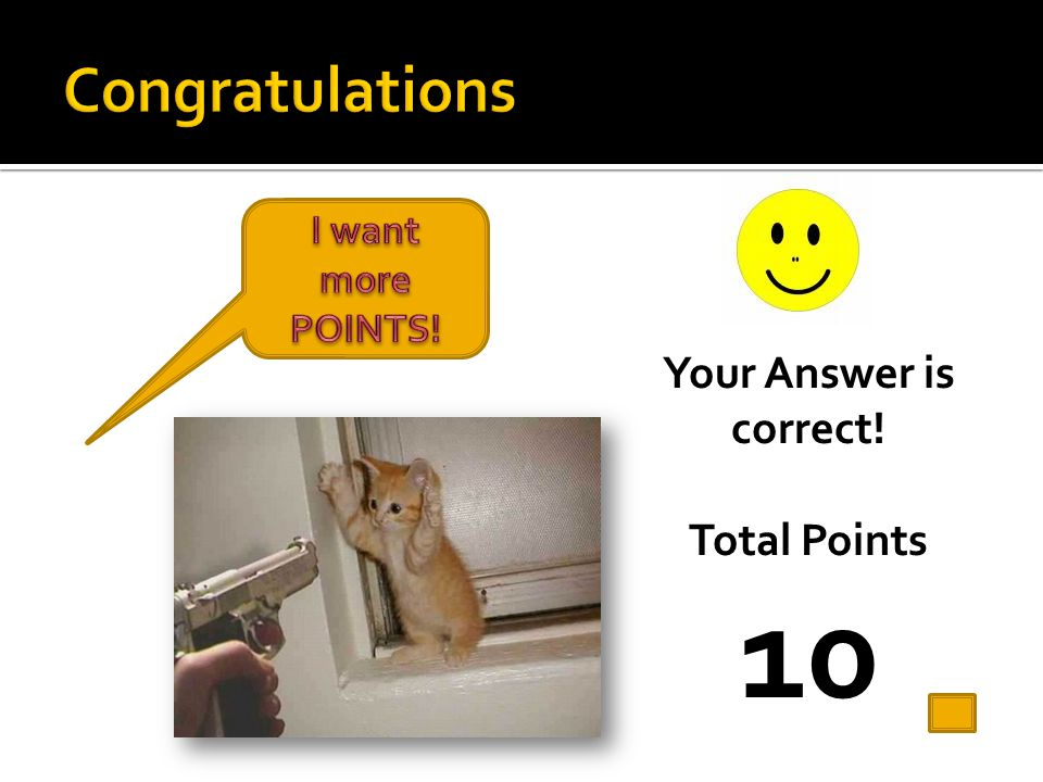10 Congratulations Your Answer is correct! Total Points