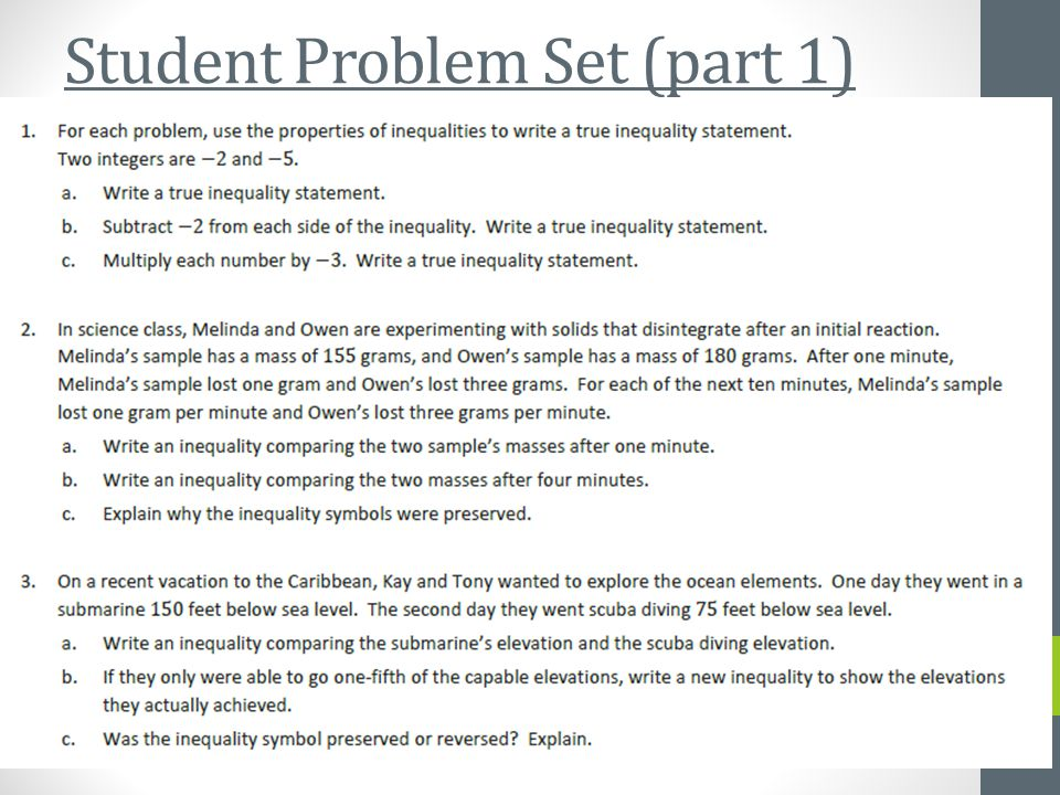 Student Problem Set (part 1)