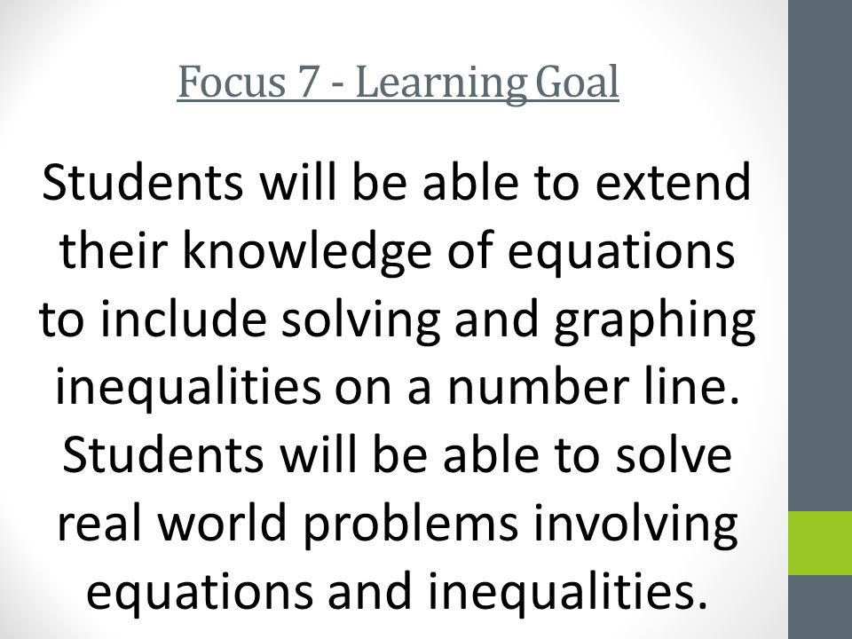 Focus 7 - Learning Goal