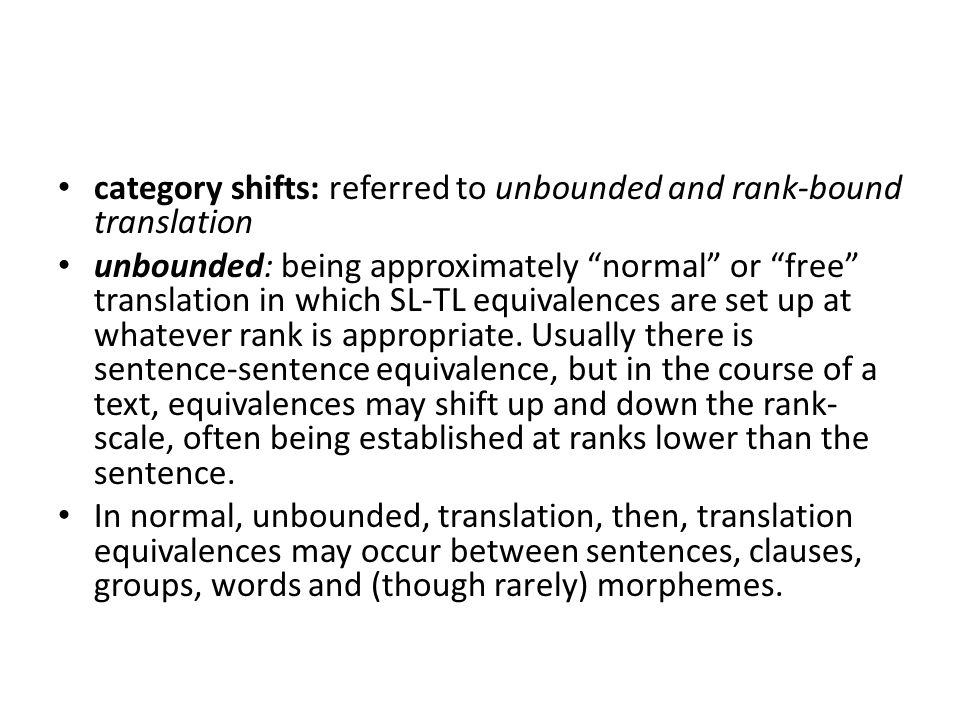 category shifts: referred to unbounded and rank-bound translation