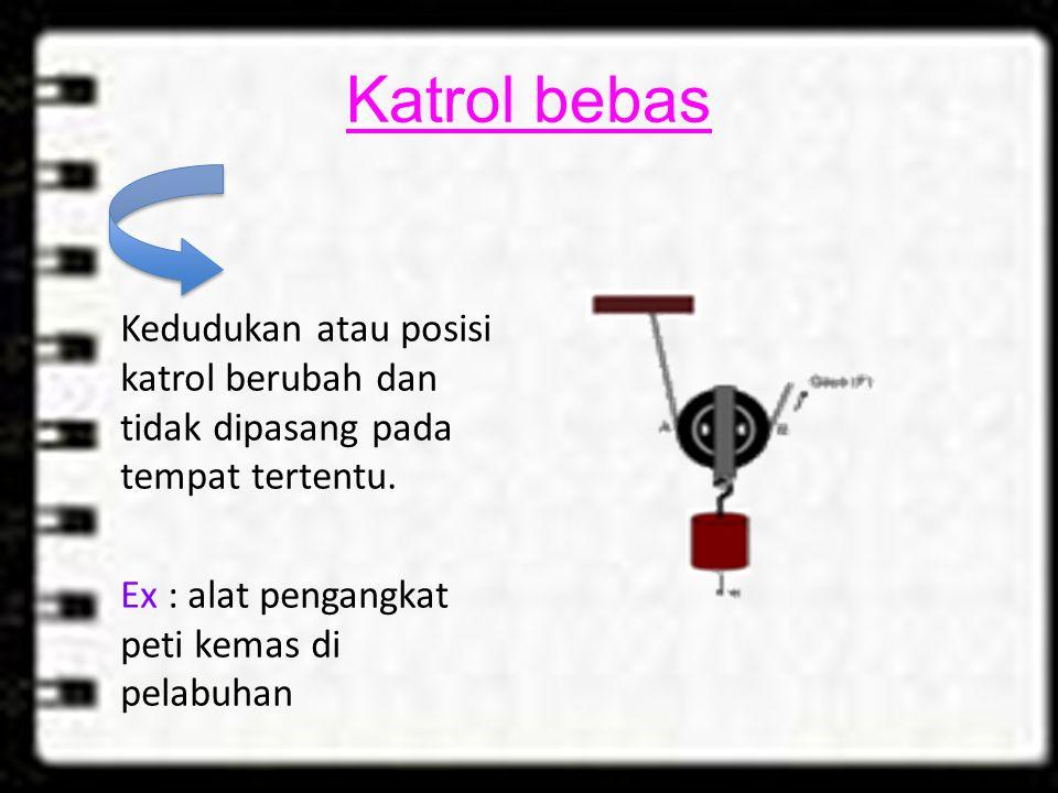 Katrol bebas Kedudukan atau posisi katrol berubah dan tidak dipasang pada tempat tertentu.