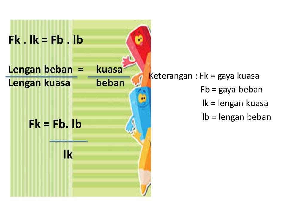 Fk . lk = Fb . lb Fk = Fb. lb lk Lengan beban = kuasa