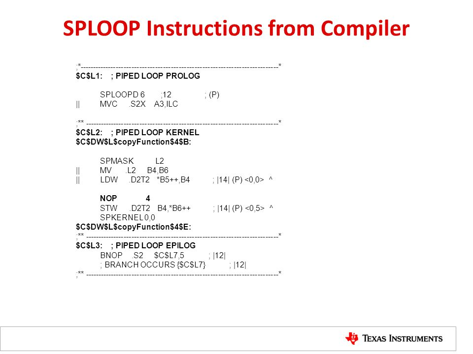 SPLOOP Instructions from Compiler