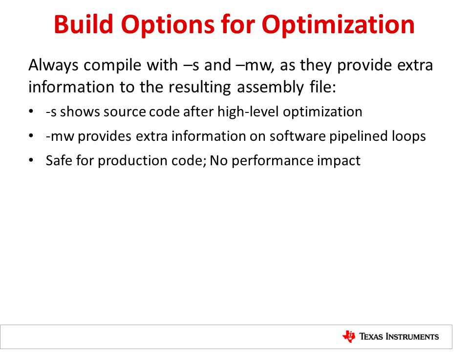 Build Options for Optimization