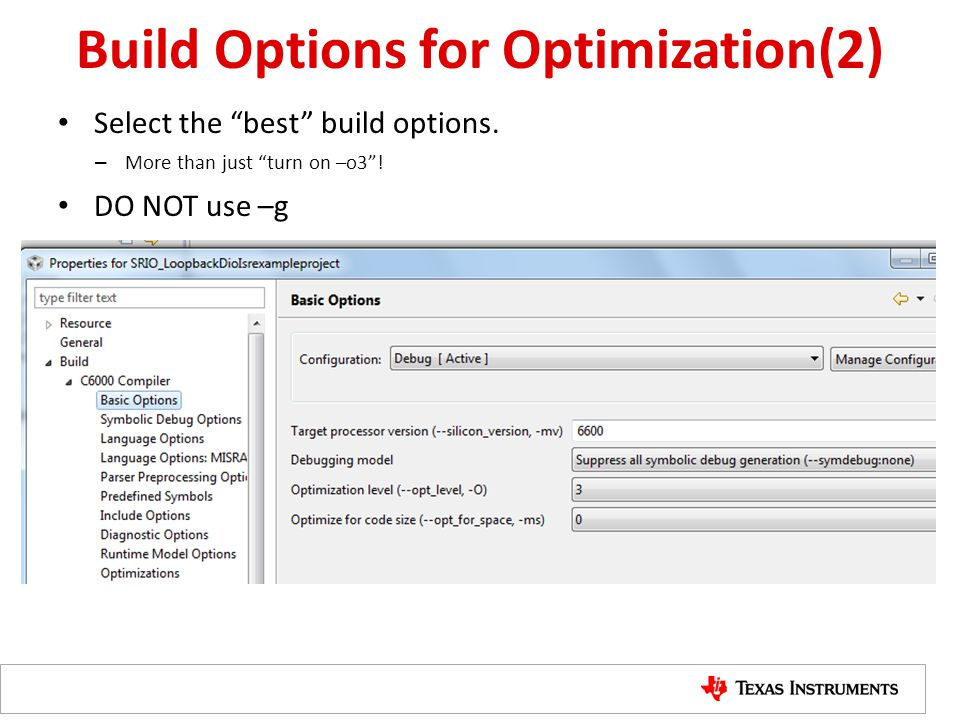 Build Options for Optimization(2)