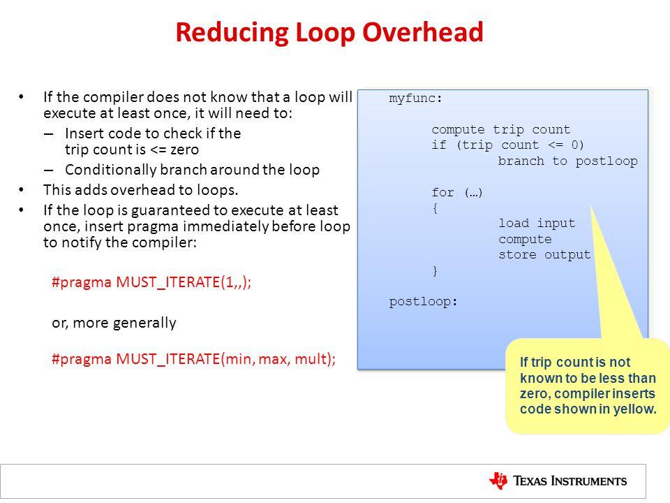 Reducing Loop Overhead