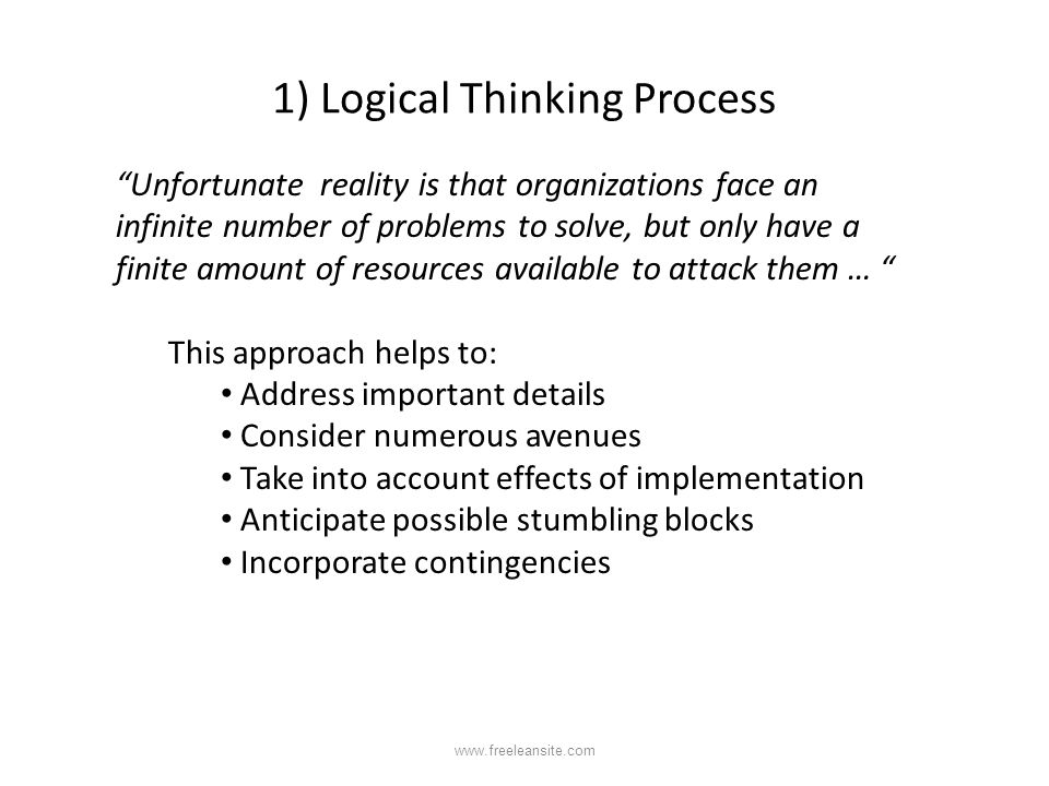 1) Logical Thinking Process