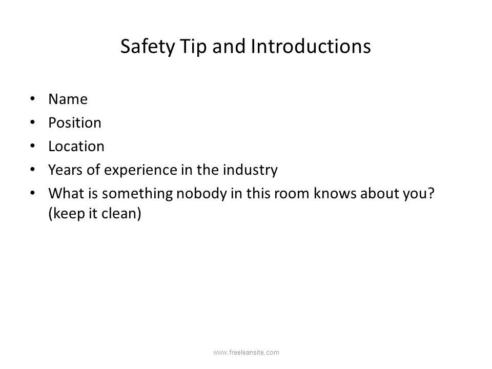 Safety Tip and Introductions