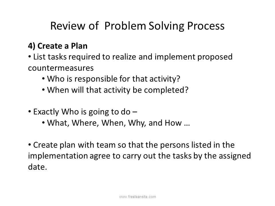 Review of Problem Solving Process