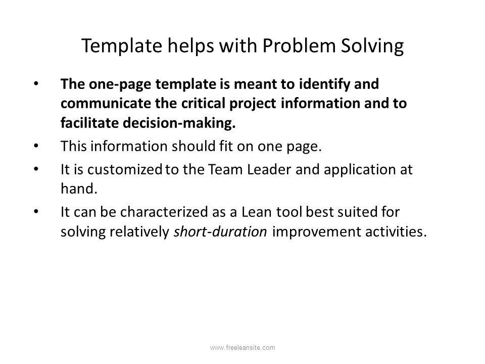 Template helps with Problem Solving