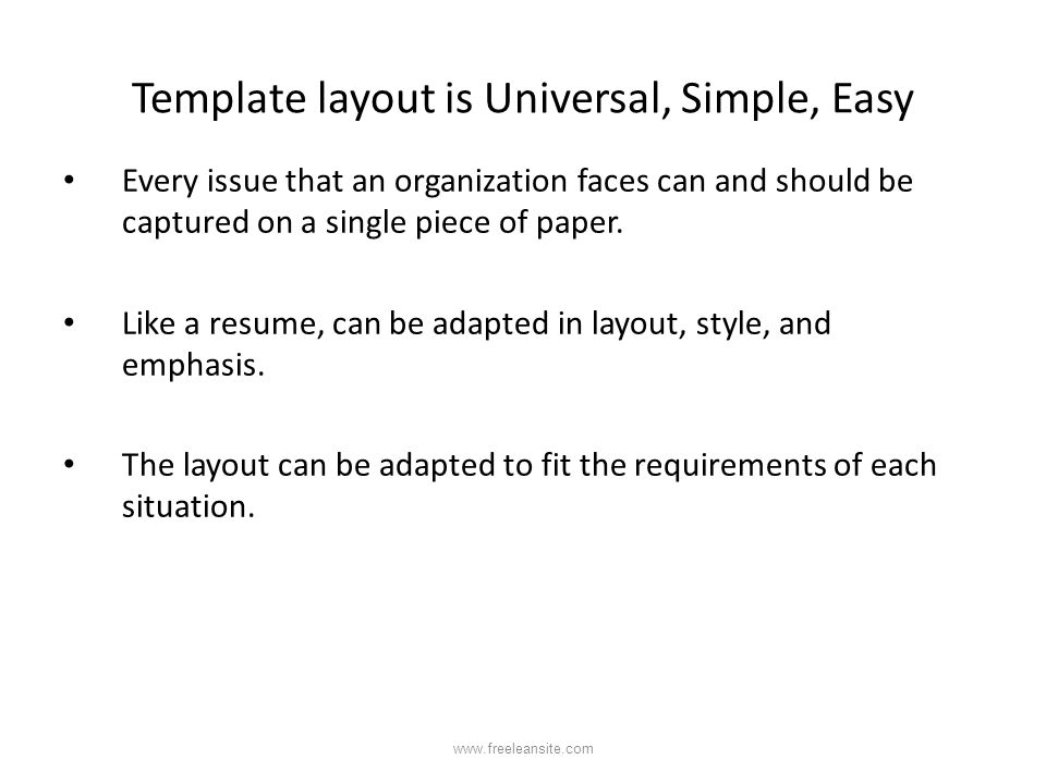 Template layout is Universal, Simple, Easy