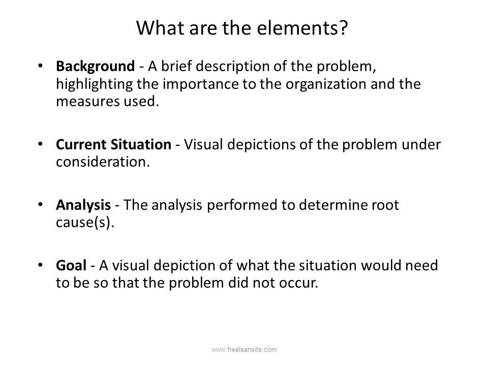 What are the elements Background - A brief description of the problem, highlighting the importance to the organization and the measures used.