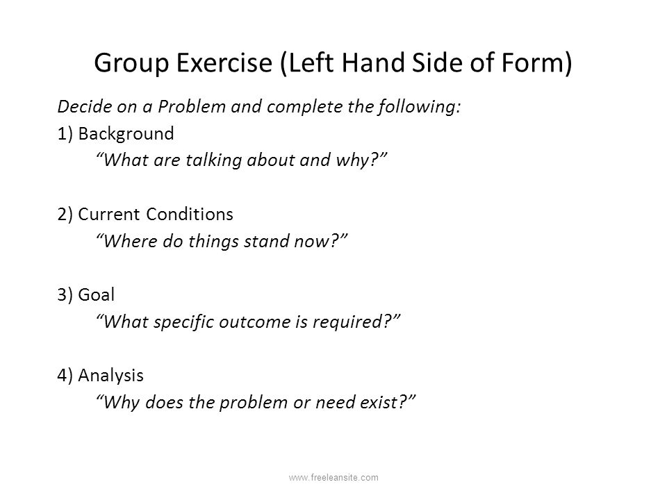Group Exercise (Left Hand Side of Form)