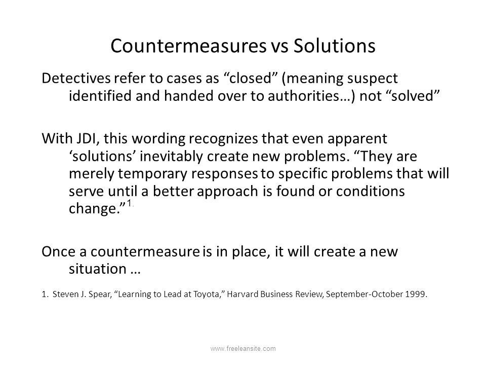 Countermeasures vs Solutions