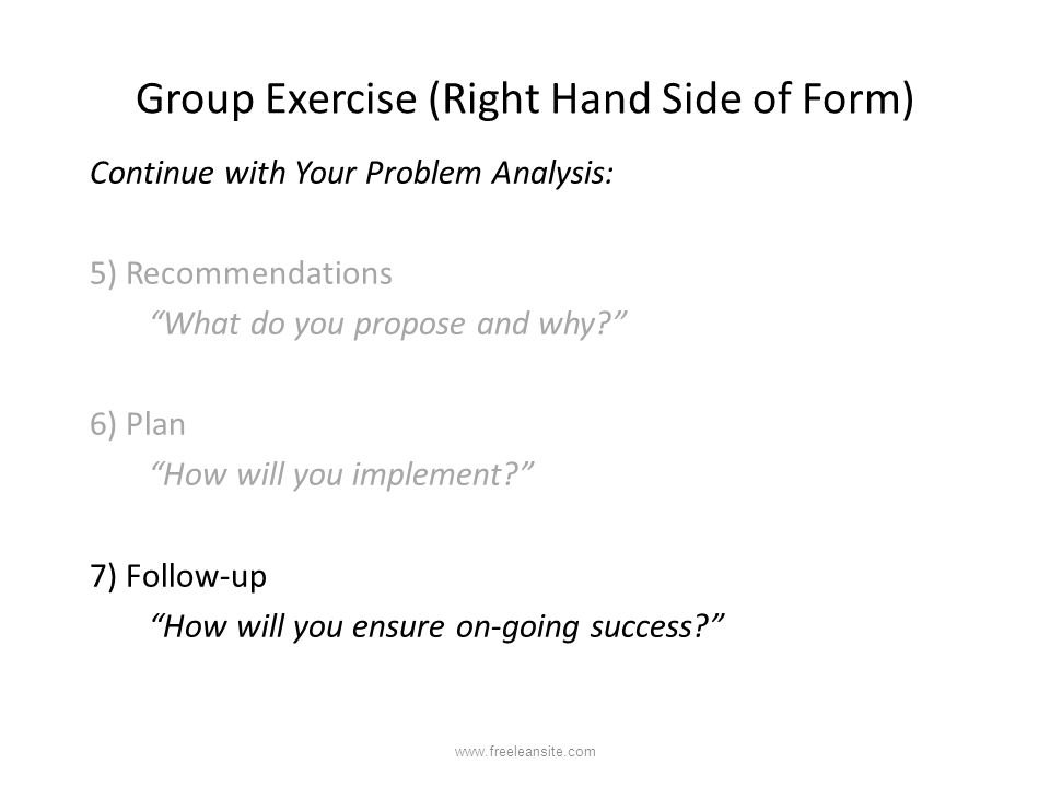 Group Exercise (Right Hand Side of Form)