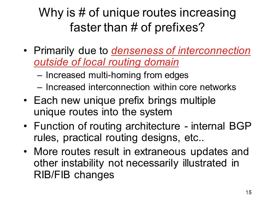 Why is # of unique routes increasing faster than # of prefixes