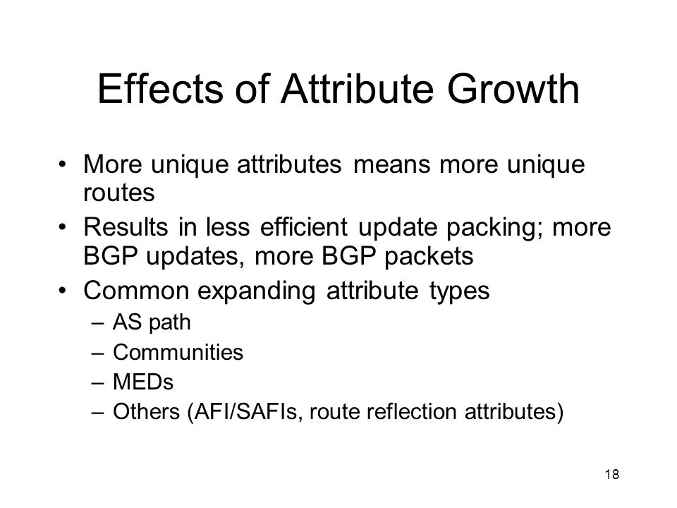 Effects of Attribute Growth