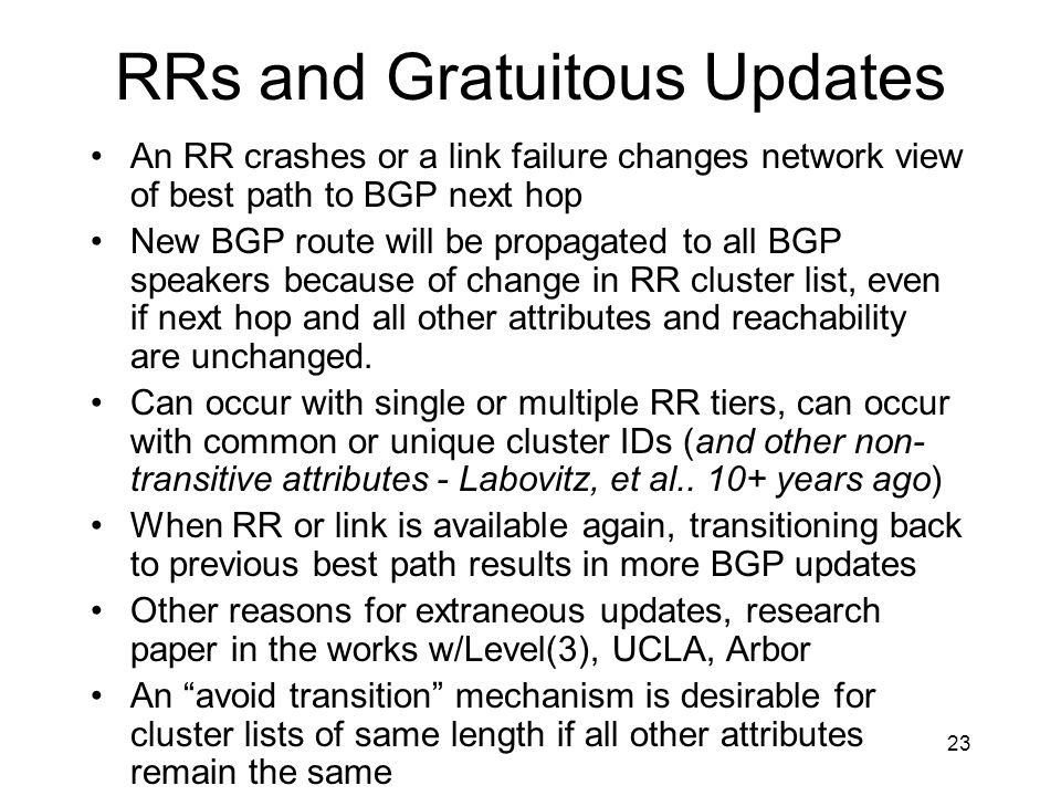 RRs and Gratuitous Updates