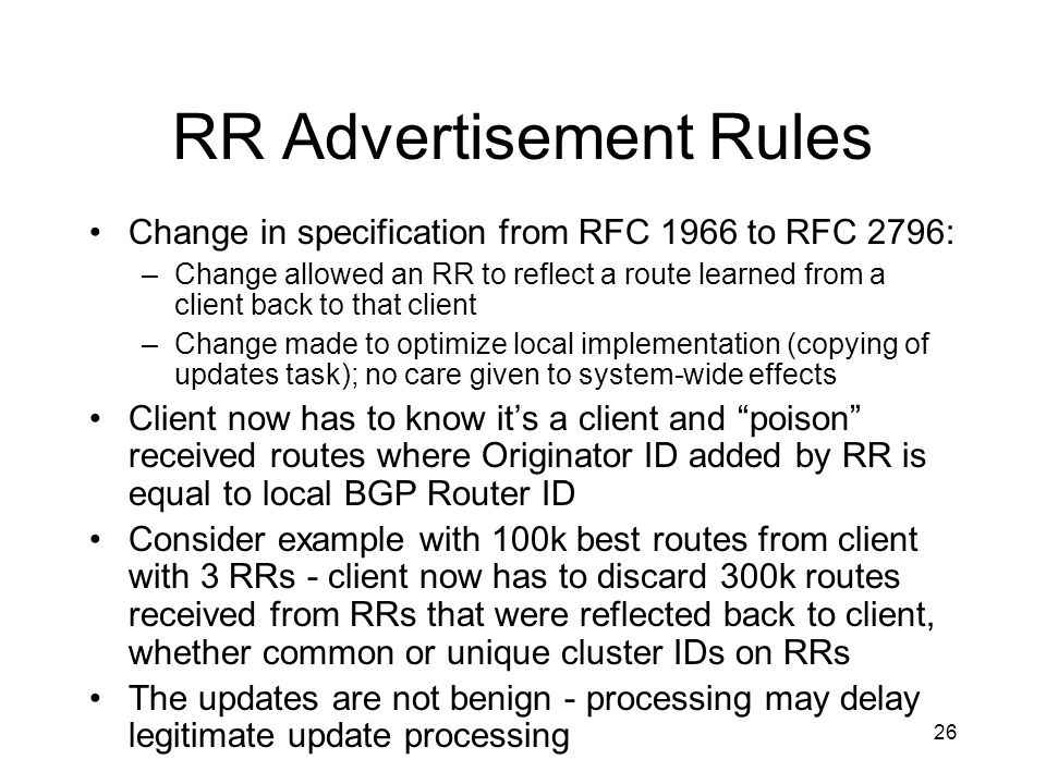 RR Advertisement Rules