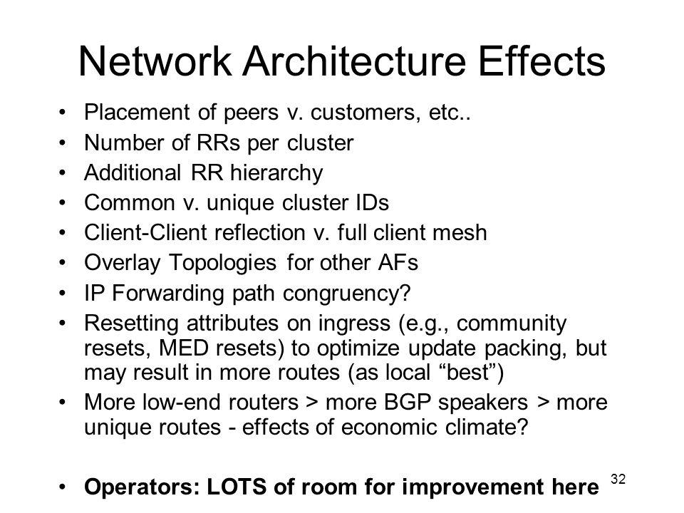 Network Architecture Effects