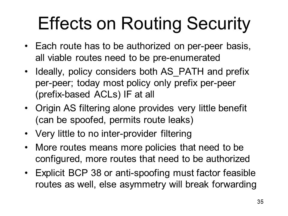 Effects on Routing Security