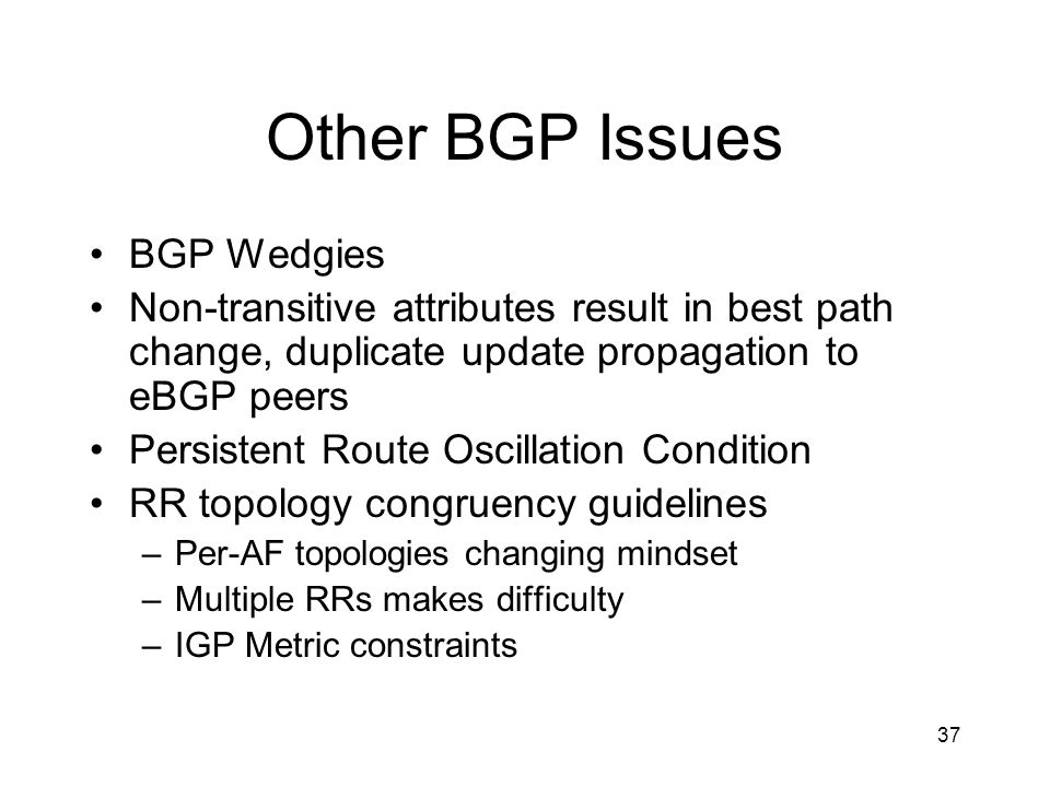 Other BGP Issues BGP Wedgies